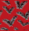 black white leaves seamless pattern red background vector image vector image