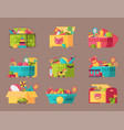boxes full kid toys cartoon cute graphic play vector image vector image
