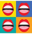 Braces Corrective Orthodontics On Colorful vector image