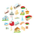 building house icons set cartoon style vector image vector image