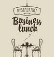 business lunch menu with table for two vector image