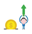 businessman character holding up arrow moving up vector image vector image