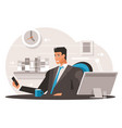 businessman with smartphone vector image vector image