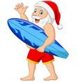cartoon santa claus holding a surfboard waving han vector image vector image