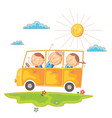 children go to school by bus vector image vector image