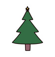 christmas pine tree with star decoration vector image