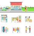 Clothing Store Exterior And People Shopping Set Of vector image