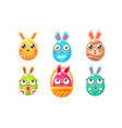 collection cute glossy colorful funny eastern vector image