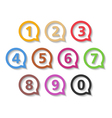Colored Numbers in Round Speech Bubbles vector image vector image