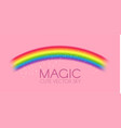 cute magic rainbow on pink background fantazy and vector image