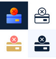declined payment credit card stock icon set vector image