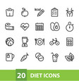 diet icons collection vector image vector image
