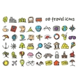 doodle travel icons set vector image vector image