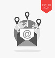 Email marketing concept icon Flat design gray vector image