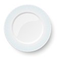 Empty classic white plate with wavy blue pattern vector image vector image
