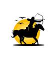 equestrian archer warrior logo vector image vector image