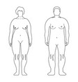 fat european women and man outline style human vector image vector image