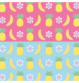 fresh pineapples and bananas fruits pattern vector image
