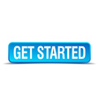 get started blue 3d realistic square isolated vector image vector image