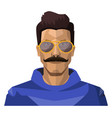handsome guy with moustaches and sunglasses on vector image vector image