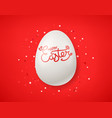 happy easter wishes card white egg on red vector image