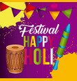 happy holi poster pennant colorful decoration vector image vector image