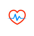 heart with a cardiogram logo for the clinic vector image vector image