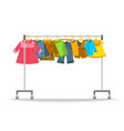 kids clothes hanging on hanger rack vector image