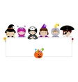 Kids in halloween costumes with blank placard vector image vector image