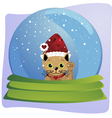 kitten in a christmas globe vector image vector image
