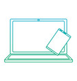 laptop computer with smartphone icon image vector image vector image