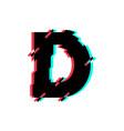 logo letter d glitch distortion diagonal vector image