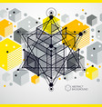 modern abstract cubic lattice lines yellow vector image vector image