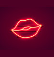 neon kiss label sticker red sexy symbol banner vector image