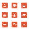 ownership icons set grunge style vector image