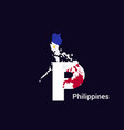 philippines initial letter country with map and vector image