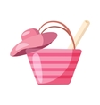 Pink beach bag and hat icon cartoon style vector image