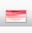 pink business card templates with brush vector image vector image