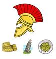 pisa tower pasta coliseum legionnaire helmet vector image