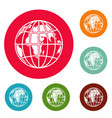 planet earth icons circle set vector image vector image