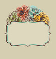 retro colorful floral frame vector image vector image