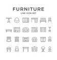 set line icons of furniture vector image