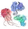 set of doodle marine fish and jellyfish decorated vector image