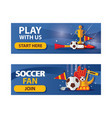 set of football horizontal banners on blue vector image vector image