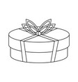 shopping gift box in black and white vector image vector image