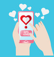 smartphone gps find to love heart vector image