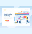 social media marketing website online page people vector image