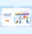 social media marketing website online page people vector image vector image