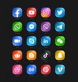 social media modern glass 3d web icons set vector image vector image