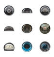 Speedometer for transport icons set cartoon style vector image
